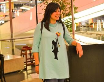 Pom Pom dress in turquoise