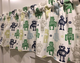 "Baby Boys Robots Gray, Light Blue, Navy Blue, Green, Lime Green 42"" Valance Curtain"