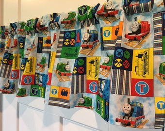 Thomas the Train Engine Railroad Boys  Blue Red Green Locomotive Train Valance