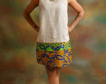 Grey Linen Dress With a Touch of African Print