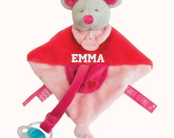 Doudou attached teat to personalize embroidered with baby's name