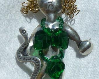 Vintage Sterling 'Eve' Pin Pendant/Brooch Curly Hair Beaded Fig Leafs, Apple & Snake