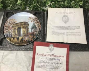 Limited Edition Limoges Plate Louis Dali's L'Arc De Triomphe 12 Parisian Places #1