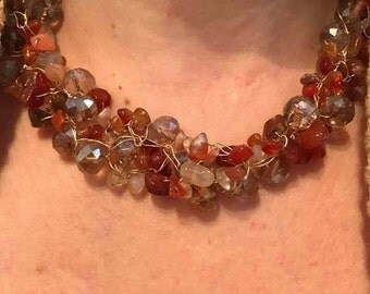 Wire crochet necklace carnelian and Crystal