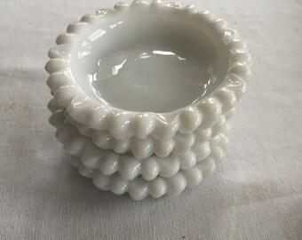 Set of 4 Small Milk Glass Daisy Ashtrays/Coasters