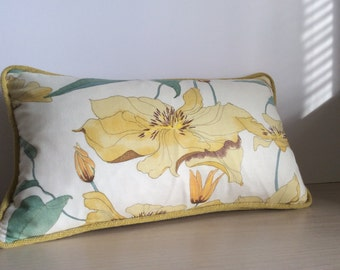 Clematis Scatter Cushion with Lemon Velour - Swaffer Designer Fabric