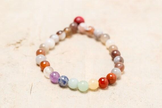 Bracelet rebalancing MALA 7 Chakras - Agate zonée