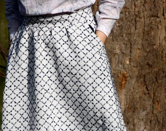 White checked midi full skirt with zip 80's look