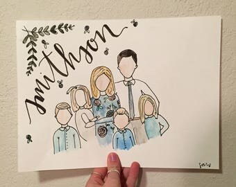 family watercolor print (personalized)