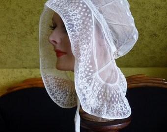Romantic Period Bonnet, antique bonnet, antique hat, Victorian Hat, ca. 1840