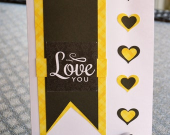 Romantic cards, Happy Valentine's Day, I Love You, Friendship cards, Couples cards, Yellow and Black, Heart cards
