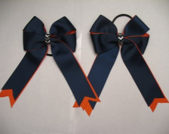 Horse Show Bows: Navy and Orange