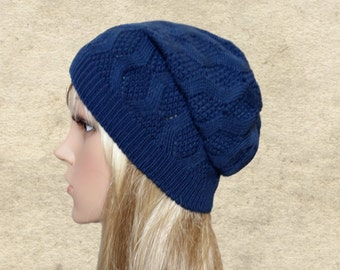 Blue slouchy hat, Slouchy knit beanie, Knitted wool beanie, Winter slouch hat, Slouch beanie women, Boho knit hat, Sreet style beanie