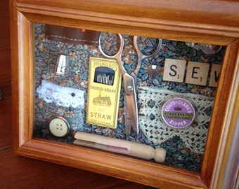 Handmade Shadow Box with Vintage Sewing Notions
