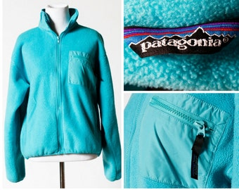 Women's Patagonia Fleece - 90's Vintage Retro Medium M Blue Turquoise Made in USA