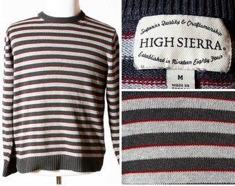Vintage Men's Sweater High Sierra - 90s Retro Medium M Stripe Gray Red