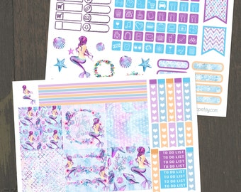 Let's Be Mermaids, Mini Happy Planner, 2 Page Planner Sticker Kit, Weekly Kit, Checklists, Icons, Mermaid, Mini Stickers, BuJo, MAMBI
