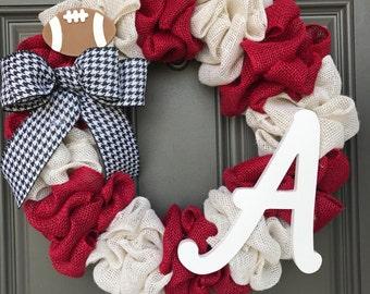 Alabama football wreath, Roll Tide wreath, Bama wreath, Crimson Tide wreath, Alabama football wreath,