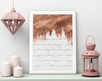 Rose Gold Dripping Paint Art Print - Poster