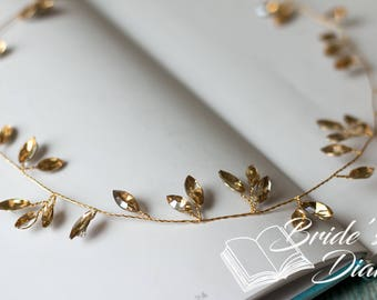 Wedding hair jewelry, delicate gold hair vine with champagne rhinestones