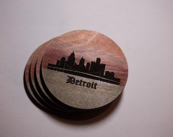 Set of four wood, Detroit Skyline Coasters