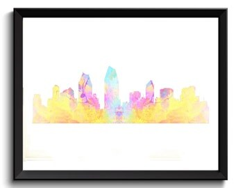 San Diego Watercolor Art - SD Watercolor Poster, San Diego Painting, Abstract San Diego Art, San Diego Cityscape, San Diego Sky, Printable