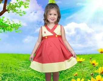 5T Girl Dress • Toddler Dress • Summer Dress • Butterfly Dress•Twirl Dress • Polka Dot Girl Dress • Birthday Dress • Party Dress • Red Dress