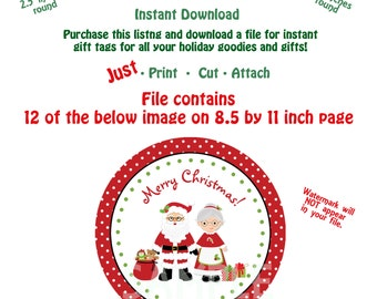 Printable Christmas Gift Tags Instant Download Holiday Treats Tag