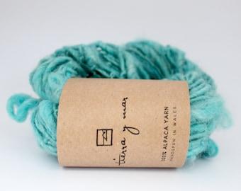 Hand spun yarn, hand dyed alpaca yarn, art yarn, turquoise yarn, 61g