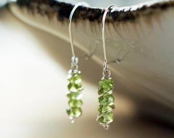 Sterling silver Peridot earrings   August birthstone earrings   Peridot jewelry   Green gemstone earrings   Lime green wire wrapped earrings