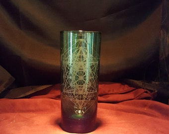 Engraved green drinking glass