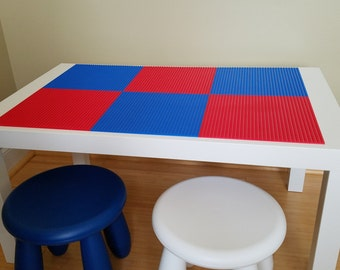 Kids Lego Brick Building Table with 2 Chairs. Superman Colors