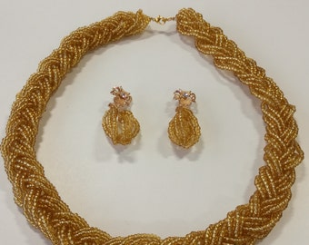 Handmade Gold Necklace and Earrings