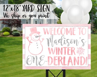 Winter Onederland Birthday Sign, Winter Onederland Yard Sign, Winter Onederland Sign, Winter 1st Birthday Sign, Onederland Welcome Sign