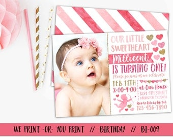 Heart Birthday Invitation, Valentine 1st Birthday, Valentine Birthday Invitation, Valentine Invitation, Valentine Day Invitation