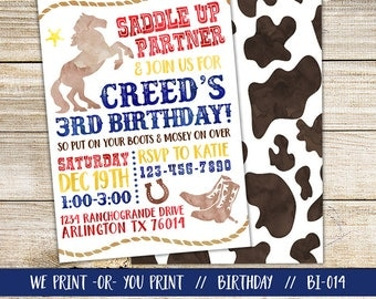 Cowboy Invitation, Western Invitation, Cowboy Birthday Invitation, Western Birthday Invitation, Horse Invitation, Cowboy Party Invitation