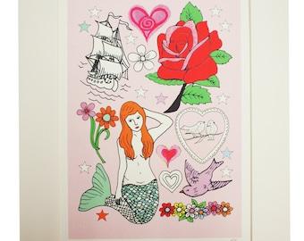 Mermaid Hand Decorated A4 Print