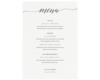 Printable Menu Template Minimalist Calligraphy Menu Editable