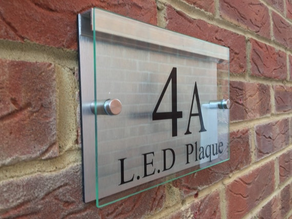 modern house sign door number street plaque with led. Black Bedroom Furniture Sets. Home Design Ideas