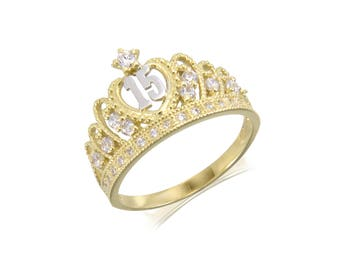 10K Solid Yellow White Gold Cubic Zirconia Crown Sweet 15 Ring - Quinceanera Anos Birthday Band