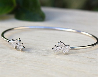 ring bracelet silver stars 925 and zircons