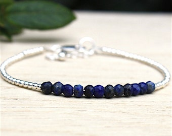 stones of lapis lazuli and 925 solid silver pearls gems bracelet