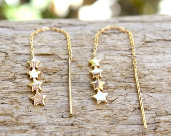gold plated chain and earrings stars 18 ct 3 microns