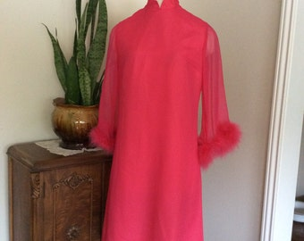 Vintage 1960's Magenta Dress with Mary Boo Feathers Detailing the Sleeves By  Melbray of London