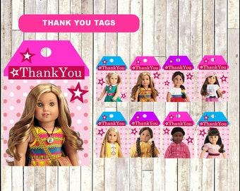Girl Doll Thank you tags, printable Girl Doll tags, Girl Dolls thank you tags- Instant download