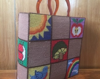 Happy Hand stitched vintage tote bag with lucite handles