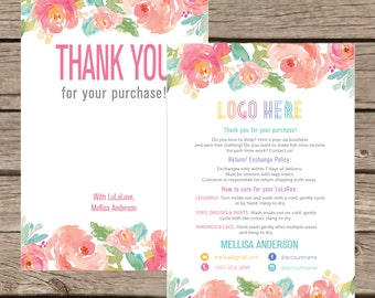 Thank You Card, Personalization, Home Office Approved, Fashion Retailer, Return/Care/Policy, Post Card, Instruction Return Exchange LLR003
