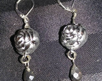 Handmade silver ball earrings with black dangle accent
