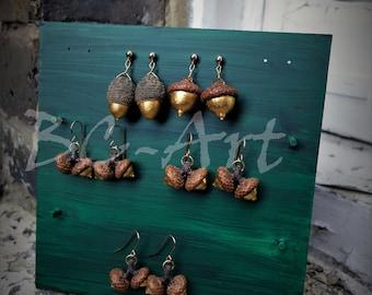 Hand Gilded Acorn Earring