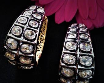 Edwardian Style Polki Hoop Earrings- Bridal Earrings- Wedding Jewellery- With Gift Box- RK27